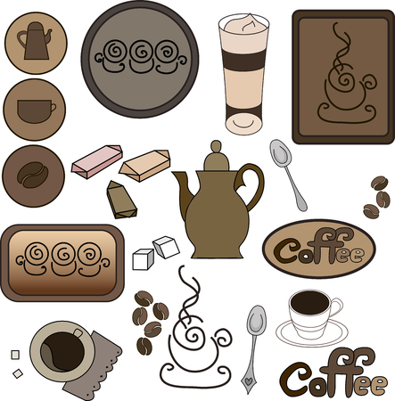 illustrator 10: Set coffee items, coffee, and all that is connected with the tradition of drinking coffee. Concept for coffee house, cafe, issue price lists and coffee card, the design of a series of booklets, linen, fabrics, bags, napkins and more. Vector illustrator 10 Illustration
