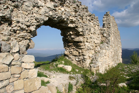 ancient times: Ruins of an ancient fortress city in ancient times people living in the mountains Stock Photo