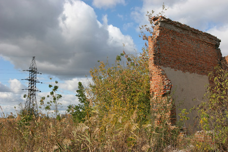 Ukraine. City Dneprodzerzhinsk, district Bagley, 2015, year, spring.  left unfinished plant overgrown with grass, shrubs and trees. Nature avidly destroys traces of man.