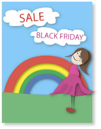 pink dress: A girl in a pink dress looks at the inscription and Black Friday discounts