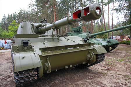 Ukraine. Kiev. The village is about Mezhyhirya. 09: 05: 2012. Military equipment from World War II. Editorial