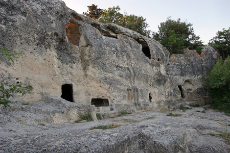 The dwelling of the ancient people carved into the rock, a primitive civilization