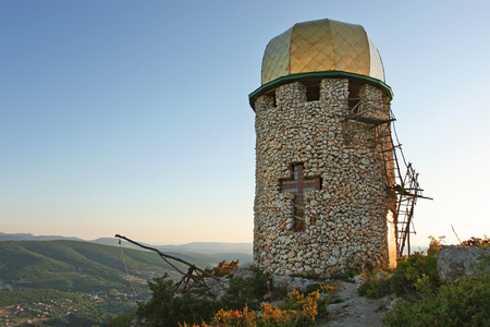Orthodox monastery located high in the mountains of Crimea Stock Photo