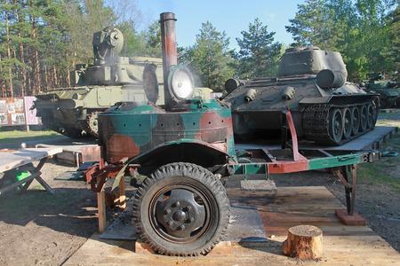 Ukraine. Kiev. The village is about Mezhyhirya. 09: 05: 2012. Military equipment from World War II, a field kitchen.