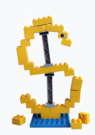 Sign of the currency collapses, falls apart into separate cubes. The collapse of the economy