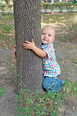 The baby with blond hair in jeans and a plaid shirt hugging a tree Stock Photo