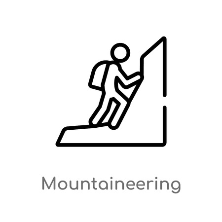 outline mountaineering vector icon. isolated black simple line element illustration from activities concept. editable vector stroke mountaineering icon on white background Vektoros illusztráció