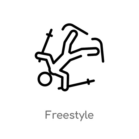 outline freestyle vector icon. isolated black simple line element illustration from activities concept. editable vector stroke freestyle icon on white background Illustration