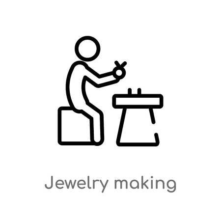 outline jewelry making vector icon. isolated black simple line element illustration from activity and hobbies concept. editable vector stroke jewelry making icon on white background