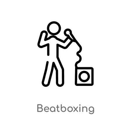 outline beatboxing vector icon. isolated black simple line element illustration from activity and hobbies concept. editable vector stroke beatboxing icon on white background