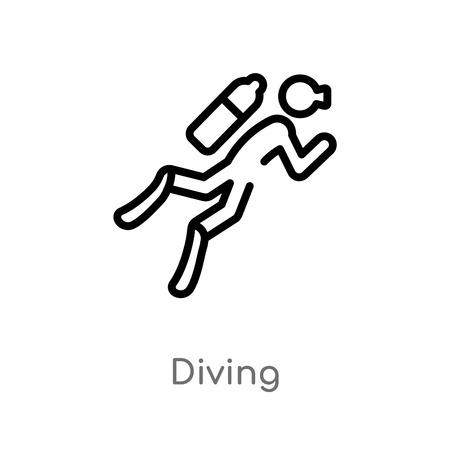 icône de vecteur de plongée de contour. illustration d'élément de ligne simple noire isolée du concept d'activités. icône de plongée de course vectorielle modifiable sur fond blanc