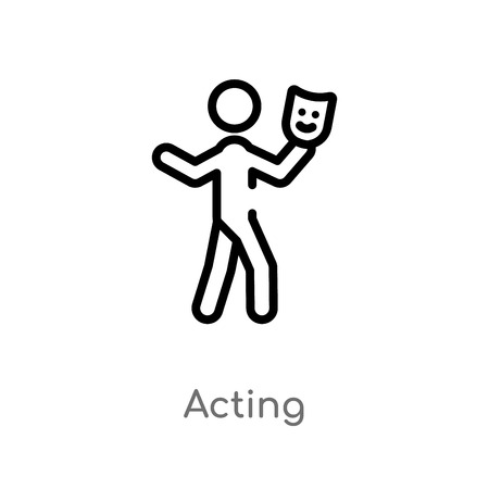 outline acting vector icon. isolated black simple line element illustration from activity and hobbies concept. editable vector stroke acting icon on white background Illustration