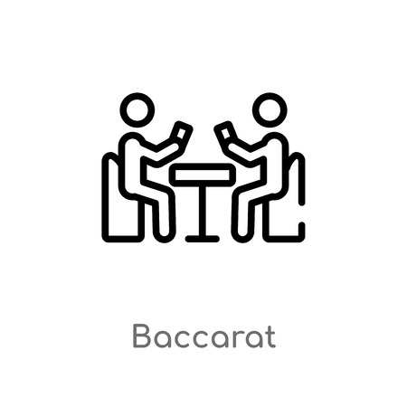 outline baccarat vector icon. isolated black simple line element illustration from activity and hobbies concept. editable vector stroke baccarat icon on white background