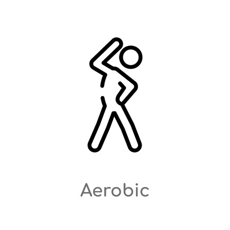 outline aerobic vector icon. isolated black simple line element illustration from activities concept. editable vector stroke aerobic icon on white background