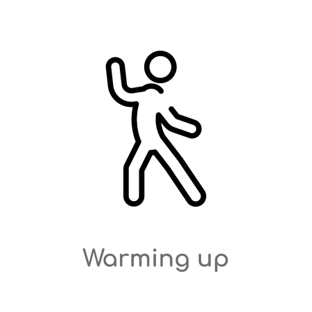 outline warming up vector icon. isolated black simple line element illustration from activities concept. editable vector stroke warming up icon on white background