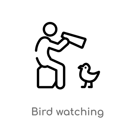 outline bird watching vector icon. isolated black simple line element illustration from activity and hobbies concept. editable vector stroke bird watching icon on white background Ilustração