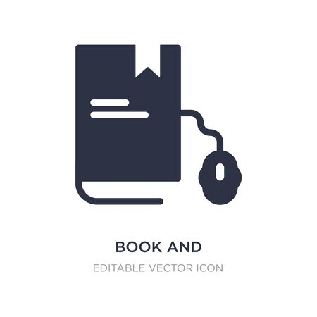 book and computer mouse icon on white background. Simple element illustration from Computer concept. book and computer mouse icon symbol design. Stock Vector - 134966620