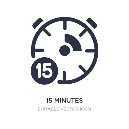 15 minutes icon on white background. Simple element illustration from General concept. 15 minutes icon symbol design.