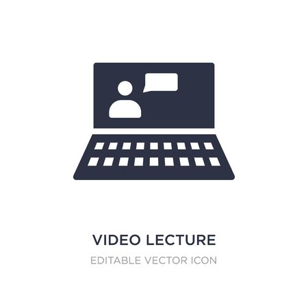 video lecture icon on white background. Simple element illustration from Computer concept. video lecture icon symbol design.