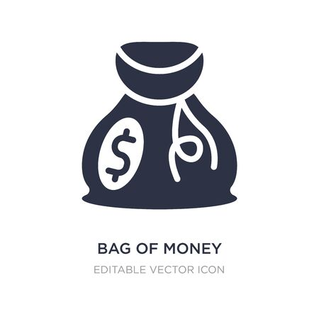 bag of money with dollar icon on white background. Simple element illustration from Commerce concept. bag of money with dollar icon symbol design.