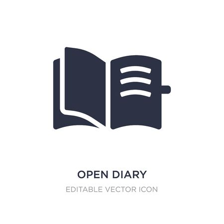 open diary icon on white background. Simple element illustration from UI concept. open diary icon symbol design.
