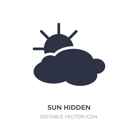sun hidden partially icon on white background. Simple element illustration from Weather concept. sun hidden partially icon symbol design.