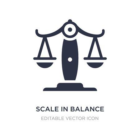 escala en el icono de equilibrio sobre fondo blanco. Ilustración de elemento simple del concepto de negocio. Escala en el diseño de símbolo de icono de equilibrio.