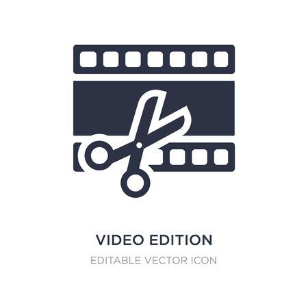 video edition icon on white background. Simple element illustration from UI concept. video edition icon symbol design. Illusztráció