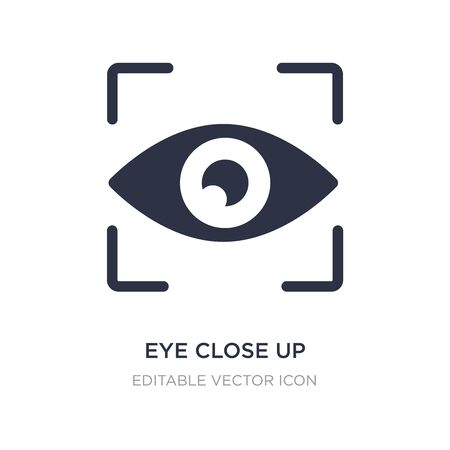 eye close up visibility button icon on white background. Simple element illustration from UI concept. eye close up visibility button icon symbol design.