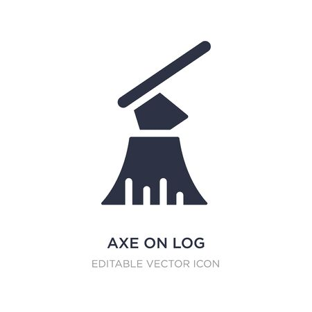 axe on log icon on white background. Simple element illustration from Buildings concept. axe on log icon symbol design.