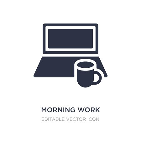 morning work icon on white background. Simple element illustration from Computer concept. morning work icon symbol design.