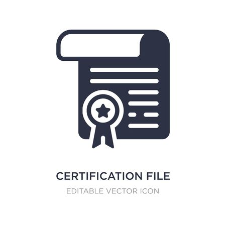 certification file icon on white background. Simple element illustration from Commerce concept. certification file icon symbol design.