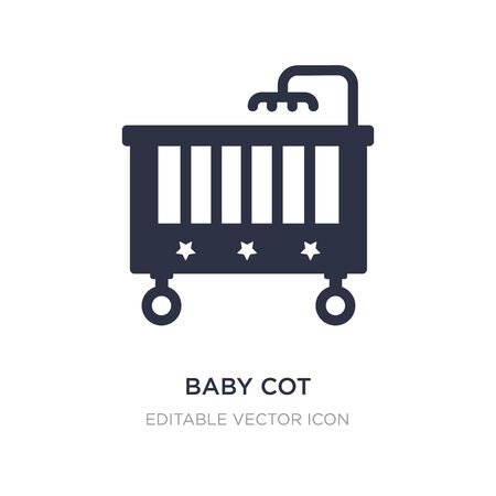 baby cot icon on white background. Simple element illustration from Furniture and household concept. baby cot icon symbol design. Ilustracja
