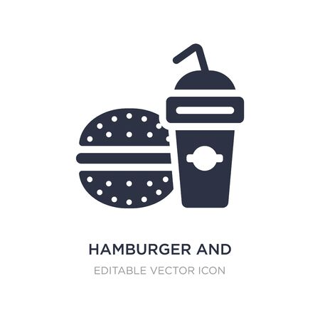 hamburger and drink icon on white background. Simple element illustration from Food concept. hamburger and drink icon symbol design.