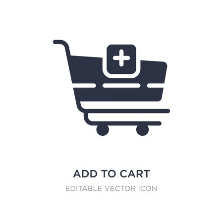add to cart icon on white background. Simple element illustration from Commerce concept. add to cart icon symbol design. 向量圖像