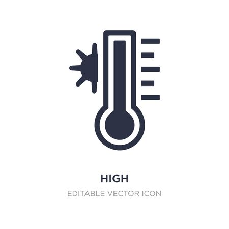 high temperature on a thermometer icon on white background. Simple element illustration from General concept. high temperature on a thermometer icon symbol design.