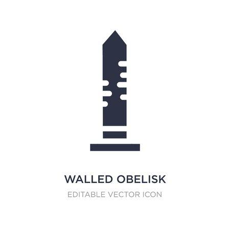 walled obelisk icon on white background. Simple element illustration from Monuments concept. walled obelisk icon symbol design. 向量圖像