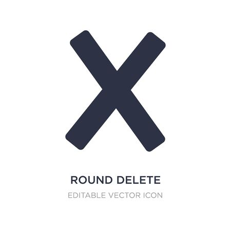 round delete button icon on white background. Simple element illustration from UI concept. round delete button icon symbol design.