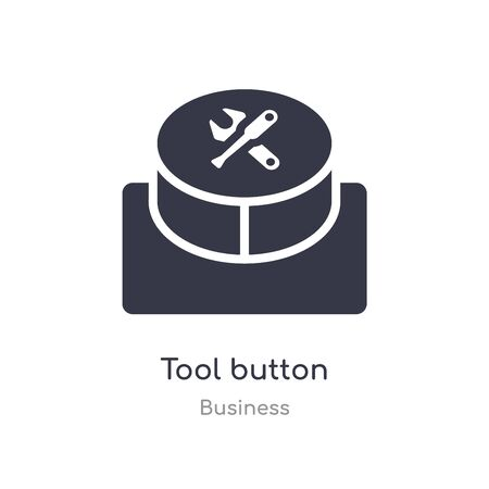 tool button outline icon. isolated line vector illustration from business collection. editable thin stroke tool button icon on white background Illustration