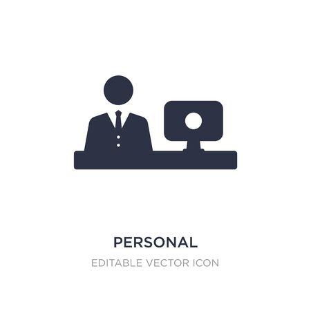 personal computer and worker icon on white background. Simple element illustration from Computer concept. personal computer and worker icon symbol design.
