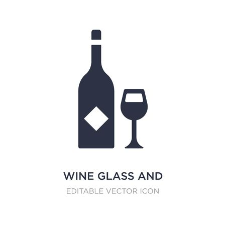 wine glass and bottle icon on white background. Simple element illustration from Food concept. wine glass and bottle icon symbol design.