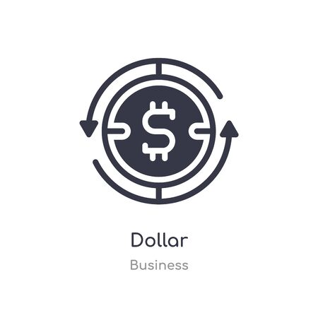 dollar outline icon. isolated line vector illustration from business collection. editable thin stroke dollar icon on white background Ilustracja