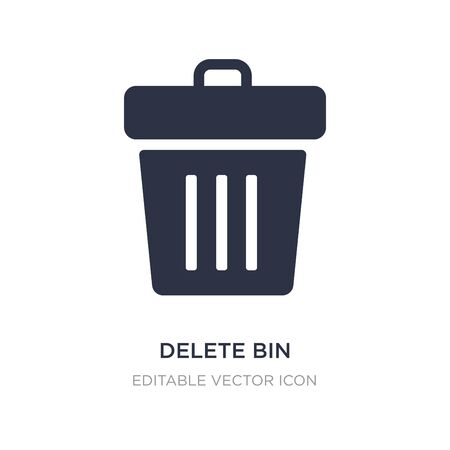 delete bin icon on white background. Simple element illustration from UI concept. delete bin icon symbol design. Illusztráció