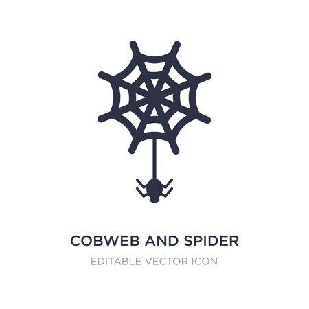 cobweb and spider icon on white background. Simple element illustration from Web concept. cobweb and spider icon symbol design. Ilustração
