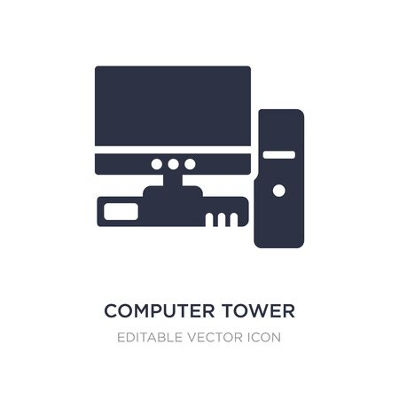 computer tower and the monitor icon on white background. Simple element illustration from Computer concept. computer tower and the monitor icon symbol design. Stock Vector - 134971070