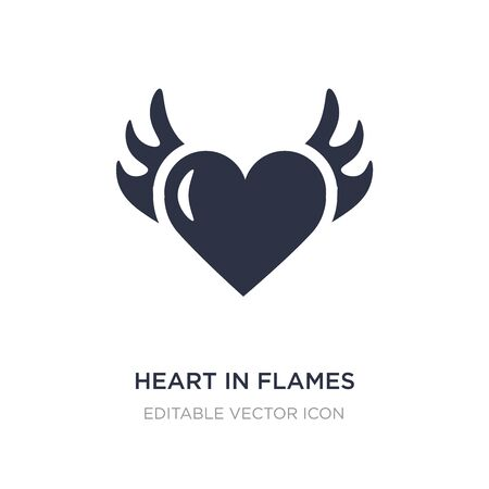 heart in flames icon on white background. Simple element illustration from General concept. heart in flames icon symbol design.