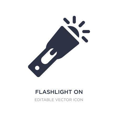 flashlight on icon on white background. Simple element illustration from General concept. flashlight on icon symbol design. Vettoriali