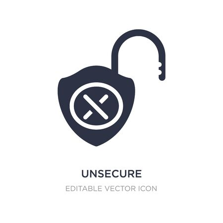 unsecure icon on white background. Simple element illustration from Security concept. unsecure icon symbol design. Illustration