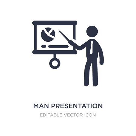 man presentation icon on white background. Simple element illustration from Business concept. man presentation icon symbol design.