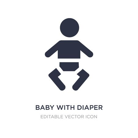 baby with diaper icon on white background. Simple element illustration from People concept. baby with diaper icon symbol design.